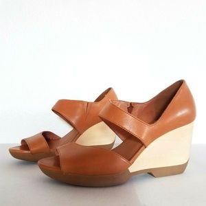 Camper Laura Leather Strappy Shoes 38 US 8 Caramel